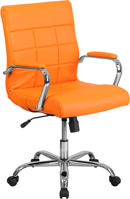 Wholesale Mid-Back Orange Vinyl Executive Swivel Office Chair with Chrome Base and Arms