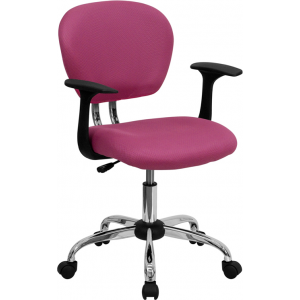Wholesale Mid-Back Pink Mesh Padded Swivel Task Office Chair with Chrome Base and Arms