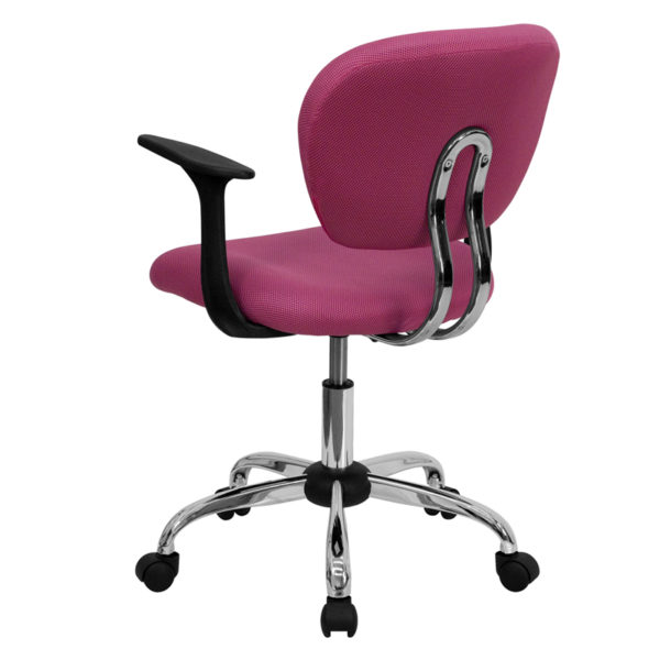 Contemporary Task Office Chair Pink Mid-Back Task Chair