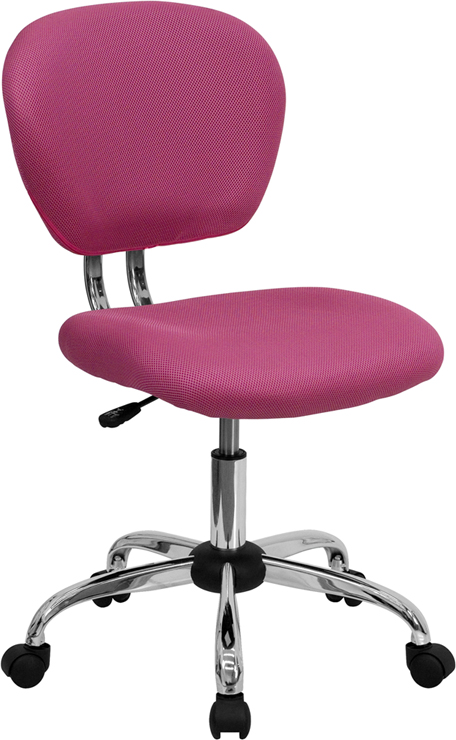 Wholesale Mid-Back Pink Mesh Padded Swivel Task Office Chair with Chrome Base