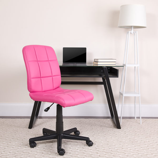 Lowest Price Mid-Back Pink Quilted Vinyl Swivel Task Office Chair