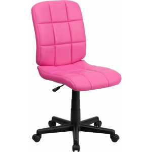 Wholesale Mid-Back Pink Quilted Vinyl Swivel Task Office Chair
