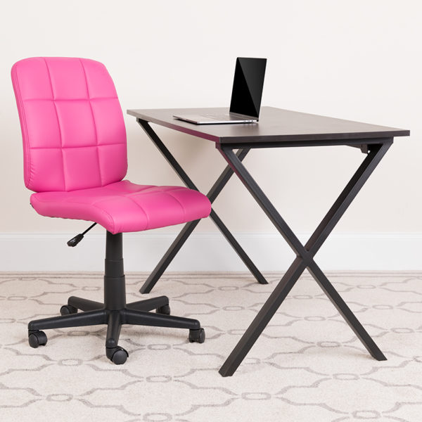 Lowest Price Mid-Back Pink Quilted Vinyl Swivel Task Office Chair with Arms