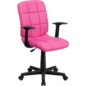 Wholesale Mid-Back Pink Quilted Vinyl Swivel Task Office Chair with Arms