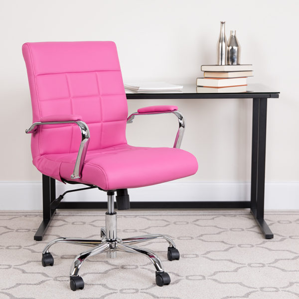 Lowest Price Mid-Back Pink Vinyl Executive Swivel Office Chair with Chrome Base and Arms
