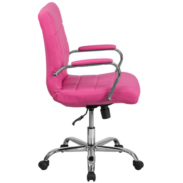 Contemporary Office Chair Pink Mid-Back Vinyl Chair