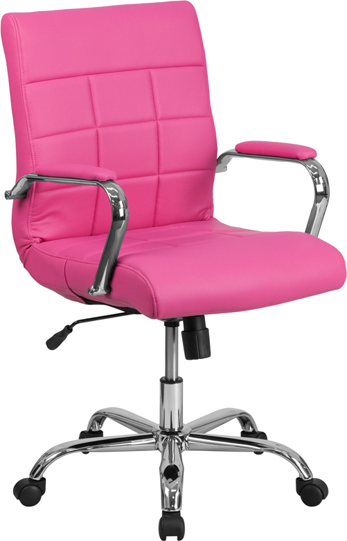 Wholesale Mid-Back Pink Vinyl Executive Swivel Office Chair with Chrome Base and Arms