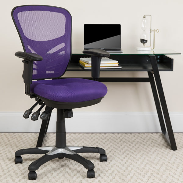 Lowest Price Mid-Back Purple Mesh Multifunction Executive Swivel Ergonomic Office Chair with Adjustable Arms