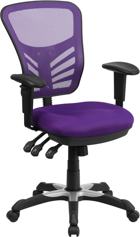 Wholesale Mid-Back Purple Mesh Multifunction Executive Swivel Ergonomic Office Chair with Adjustable Arms