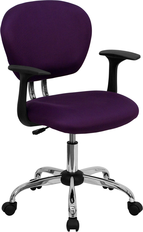 Wholesale Mid-Back Purple Mesh Padded Swivel Task Office Chair with Chrome Base and Arms