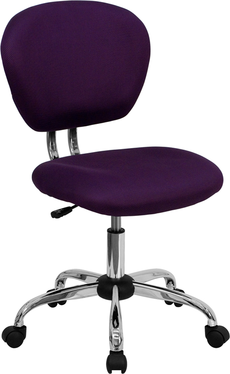Wholesale Mid-Back Purple Mesh Padded Swivel Task Office Chair with Chrome Base