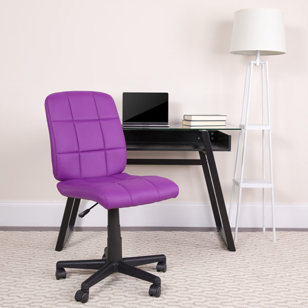 Lowest Price Mid-Back Purple Quilted Vinyl Swivel Task Office Chair