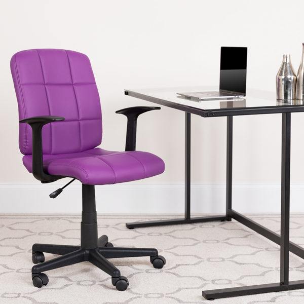 Lowest Price Mid-Back Purple Quilted Vinyl Swivel Task Office Chair with Arms