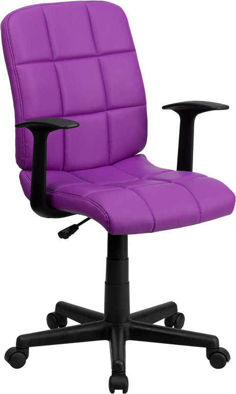 Wholesale Mid-Back Purple Quilted Vinyl Swivel Task Office Chair with Arms