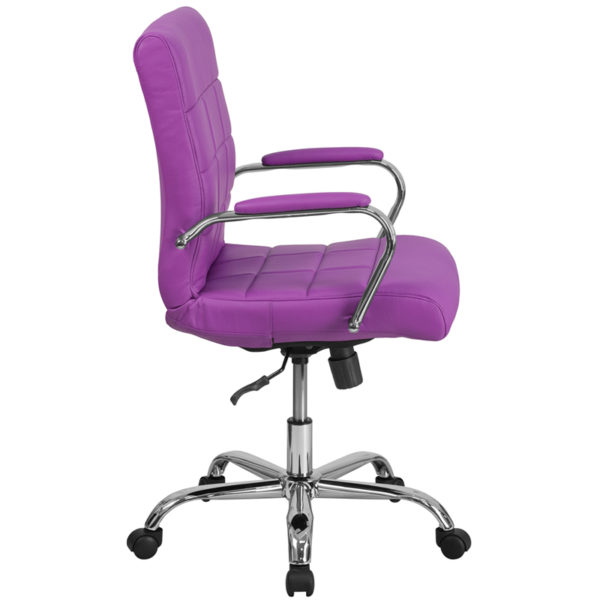 Lowest Price Mid-Back Purple Vinyl Executive Swivel Office Chair with Chrome Base and Arms