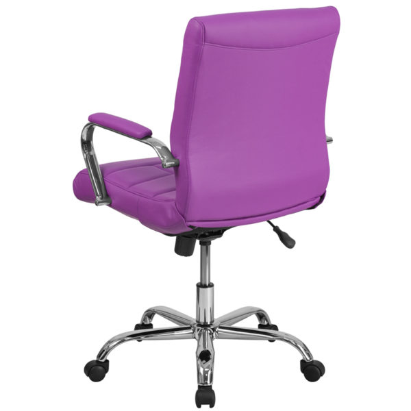 Contemporary Office Chair Purple Mid-Back Vinyl Chair