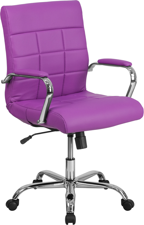Wholesale Mid-Back Purple Vinyl Executive Swivel Office Chair with Chrome Base and Arms