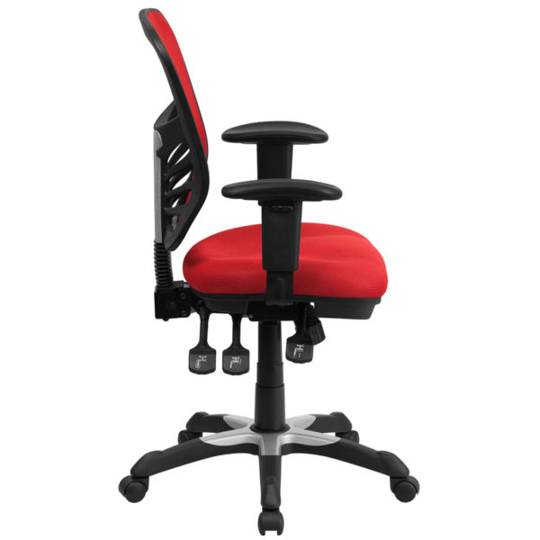 Lowest Price Mid-Back Red Mesh Multifunction Executive Swivel Ergonomic Office Chair with Adjustable Arms