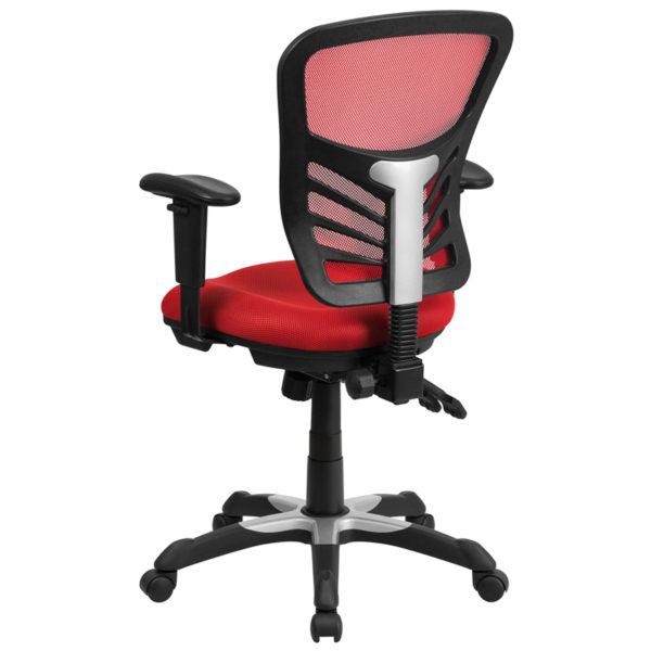 Contemporary Office Chair Red Mid-Back Mesh Chair