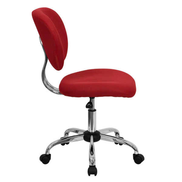Lowest Price Mid-Back Red Mesh Padded Swivel Task Office Chair with Chrome Base