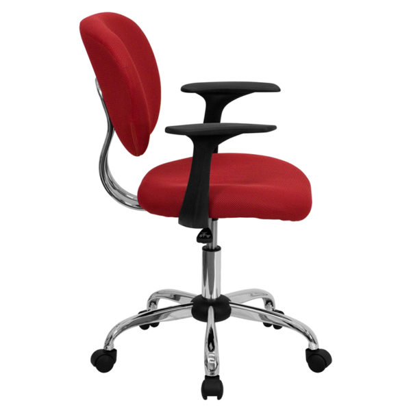 Lowest Price Mid-Back Red Mesh Padded Swivel Task Office Chair with Chrome Base and Arms