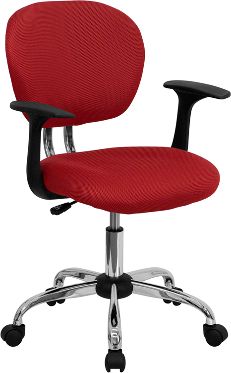 Wholesale Mid-Back Red Mesh Padded Swivel Task Office Chair with Chrome Base and Arms