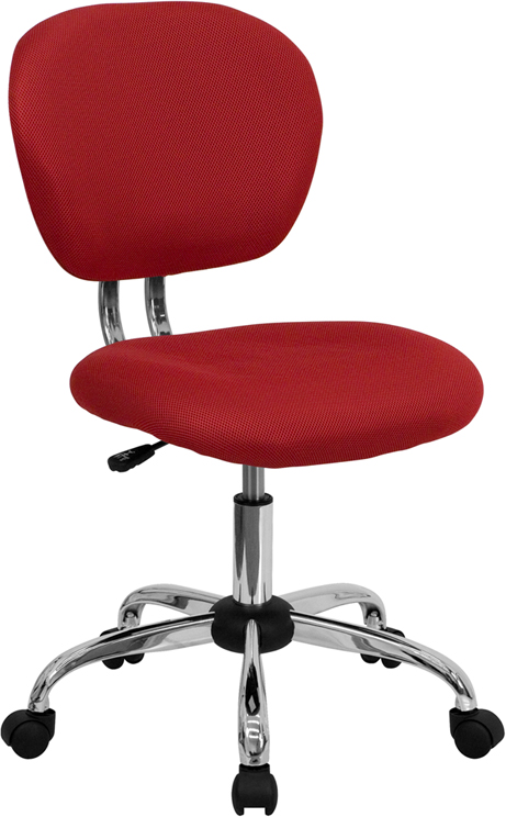 Wholesale Mid-Back Red Mesh Padded Swivel Task Office Chair with Chrome Base