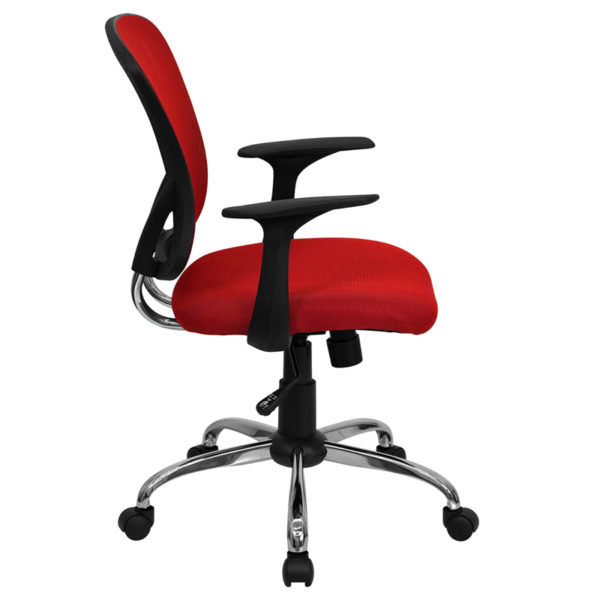 Lowest Price Mid-Back Red Mesh Swivel Task Office Chair with Chrome Base and Arms