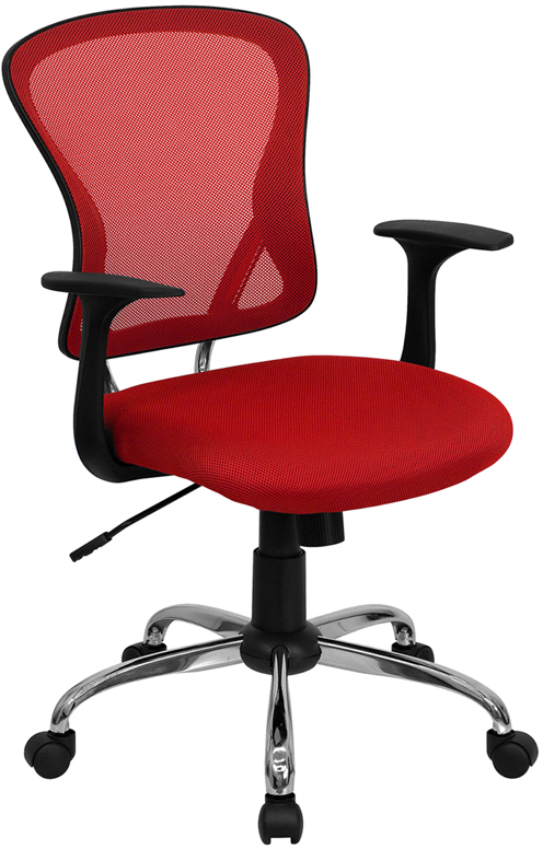 Wholesale Mid-Back Red Mesh Swivel Task Office Chair with Chrome Base and Arms