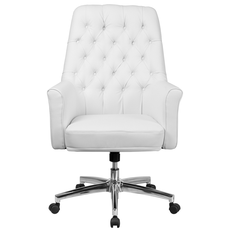 Mid Back Traditional Tufted White Leather Executive Swivel Office Chair With Arms Restaurant Furniture Org