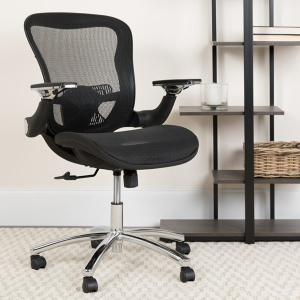 Lowest Price Mid-Back Transparent Black Mesh Executive Swivel Ergonomic Office Chair with Synchro-Tilt & Height Adjustable Flip-Up Arms
