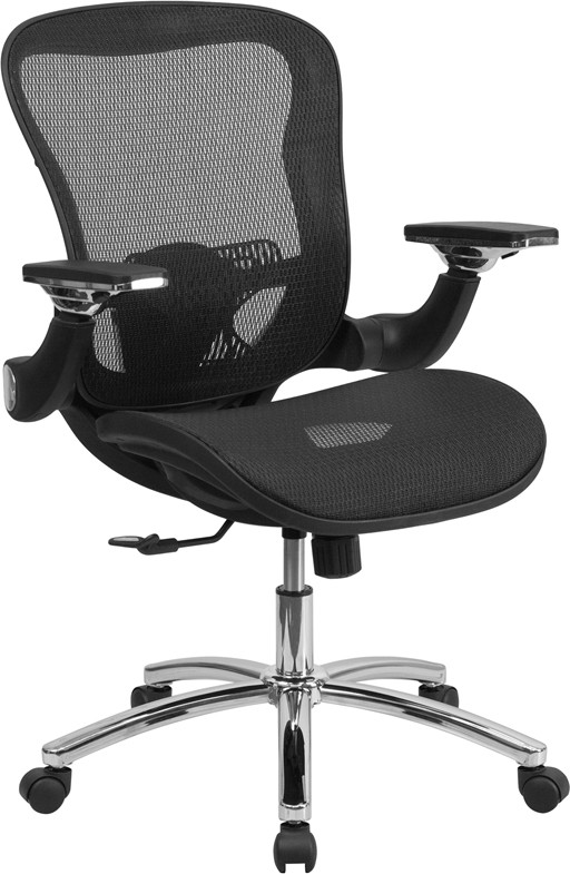 Wholesale Mid-Back Transparent Black Mesh Executive Swivel Ergonomic Office Chair with Synchro-Tilt & Height Adjustable Flip-Up Arms