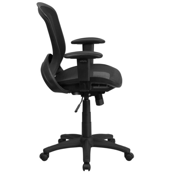 Lowest Price Mid-Back Transparent Black Mesh Executive Swivel Office Chair with Adjustable Arms