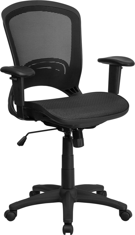 Wholesale Mid-Back Transparent Black Mesh Executive Swivel Office Chair with Adjustable Arms