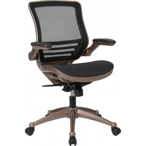 Wholesale Mid-Back Transparent Black Mesh Executive Swivel Office Chair with Melrose Gold Frame and Flip-Up Arms
