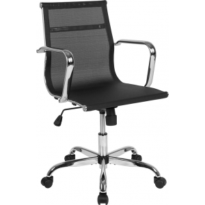Wholesale Mid-Back Transparent Black Mesh Mid-Century Modern Swivel Office Chair with Spring-Tilt Control and Arms