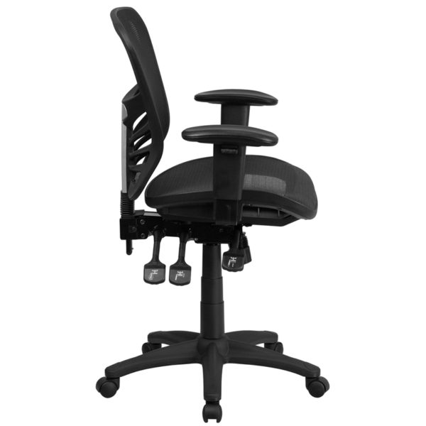 Lowest Price Mid-Back Transparent Black Mesh Multifunction Executive Swivel Ergonomic Office Chair with Adjustable Arms
