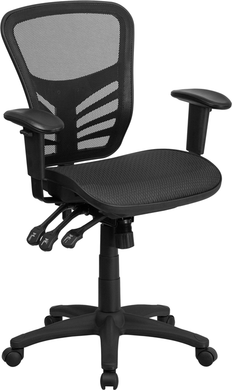 Wholesale Mid-Back Transparent Black Mesh Multifunction Executive Swivel Ergonomic Office Chair with Adjustable Arms
