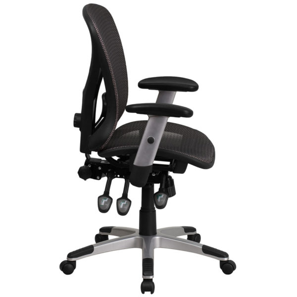 Lowest Price Mid-Back Transparent Gray Mesh Multifunction Executive Swivel Ergonomic Office Chair with Adjustable Arms