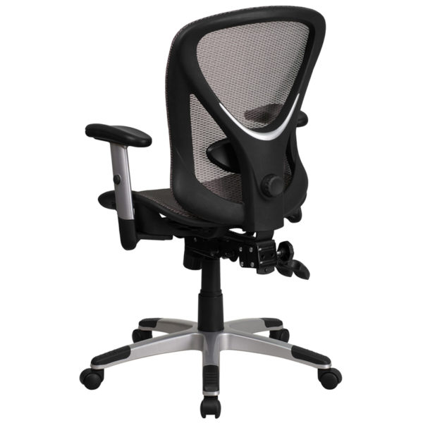 Contemporary Office Chair Gray Mid-Back Mesh Chair