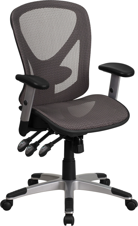 Wholesale Mid-Back Transparent Gray Mesh Multifunction Executive Swivel Ergonomic Office Chair with Adjustable Arms