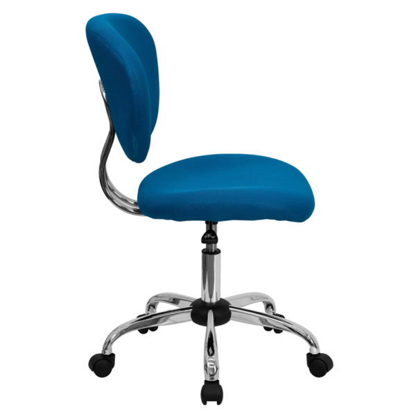 Lowest Price Mid-Back Turquoise Mesh Padded Swivel Task Office Chair with Chrome Base