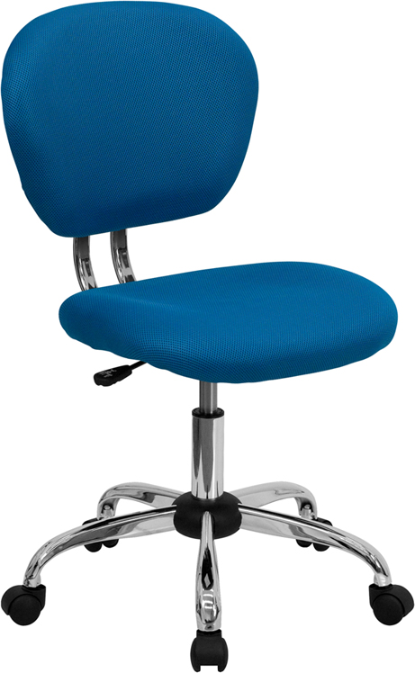 Wholesale Mid-Back Turquoise Mesh Padded Swivel Task Office Chair with Chrome Base