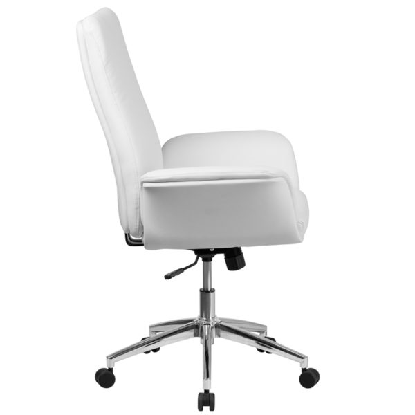 Lowest Price Mid-Back White Leather Executive Swivel Office Chair with Flared Arms