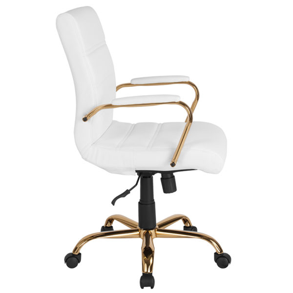 Lowest Price Mid-Back White Leather Executive Swivel Office Chair with Gold Frame and Arms