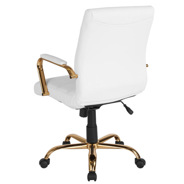 Contemporary Executive Office Chair with Padded Gold Metal Arms White Mid-Back Leather Chair