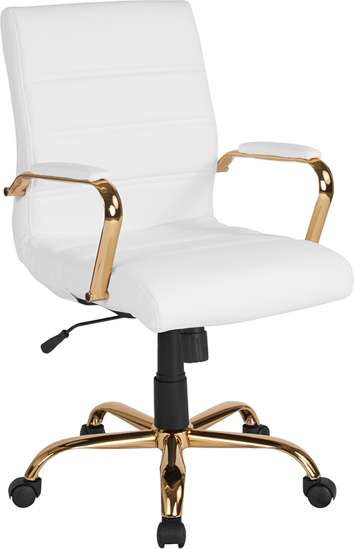 Wholesale Mid-Back White Leather Executive Swivel Office Chair with Gold Frame and Arms