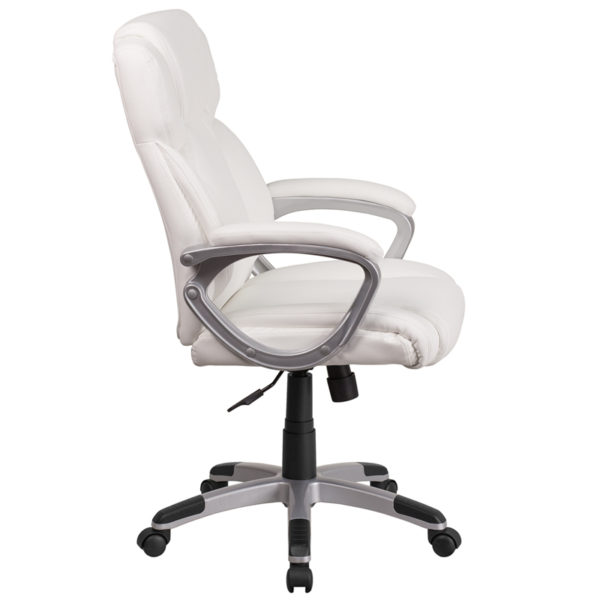 Lowest Price Mid-Back White Leather Executive Swivel Office Chair with Padded Arms