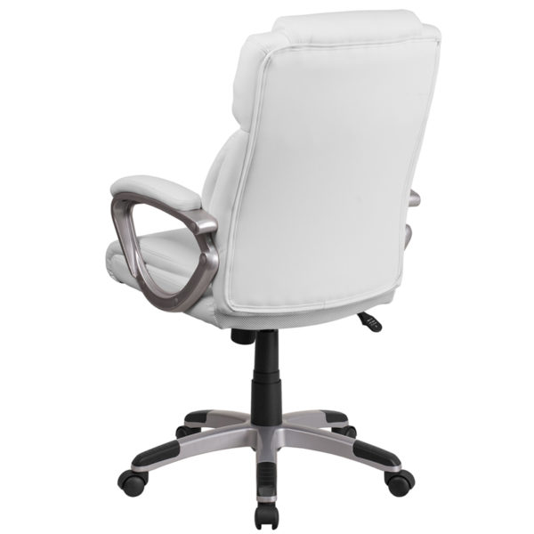 Contemporary Office Chair White Mid-Back Leather Chair