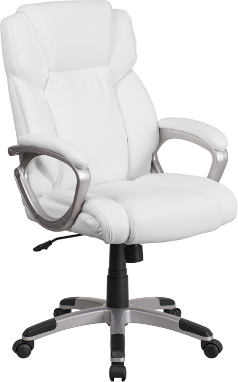 Wholesale Mid-Back White Leather Executive Swivel Office Chair with Padded Arms